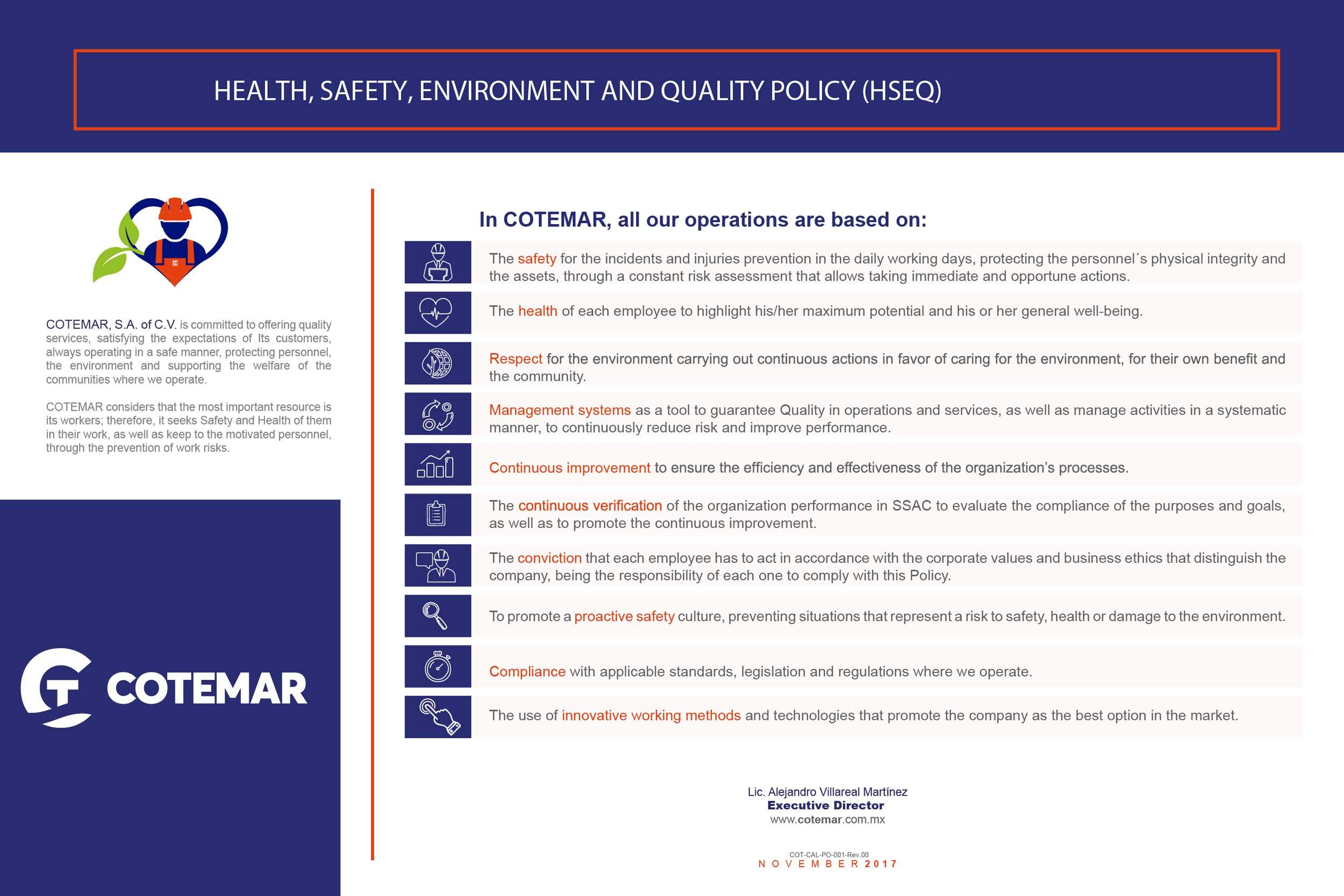 Política de Seguridad, Salud y Protección Ambiental